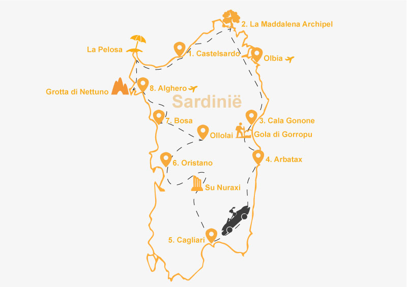 Kaart van rondreis Sardinie hoort bij de route voor een rondreis Sardinië