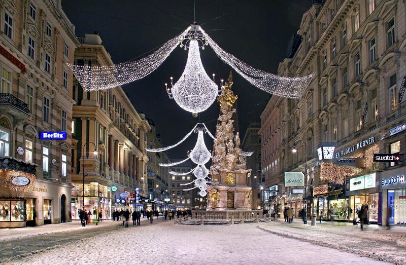 De Karnerstrasse in Wenen behoort tot een van de stedentrips in de winter