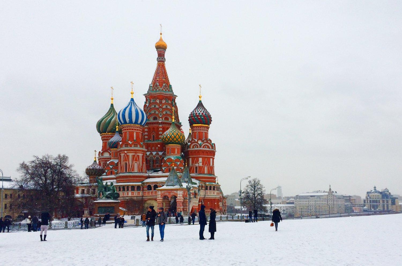 DeBasiliuskathedraal in Moskou een van de stedentrips in de winter