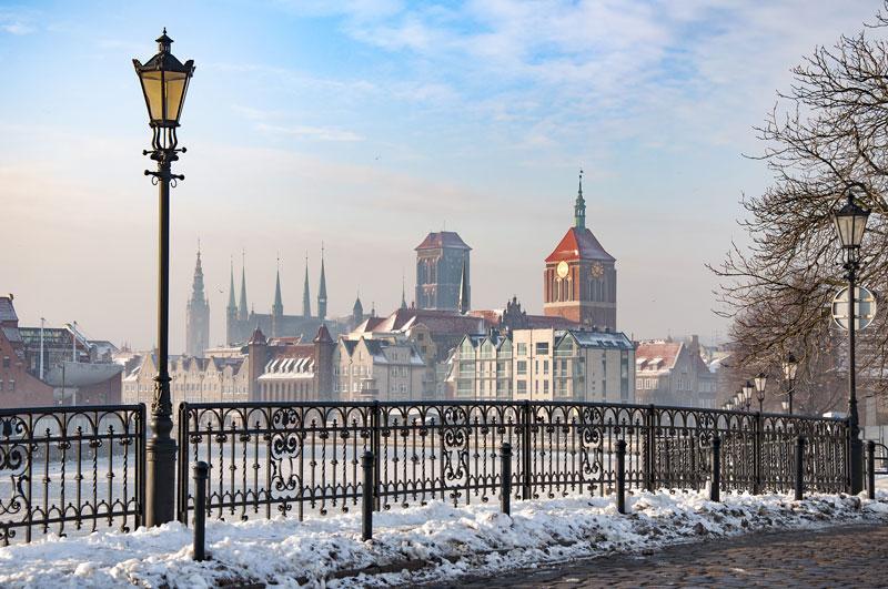 De oude stad van Gdansk behoort tot een van de stedentrips in de winter