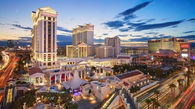 Uitzicht op Hotel en Casino Caesars Palace in Las Vegas