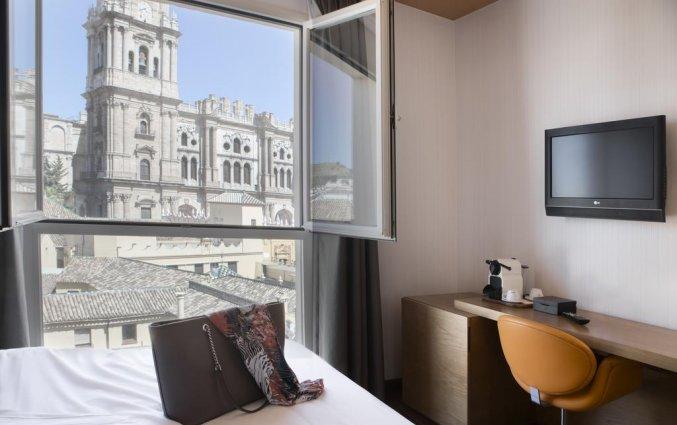 Uitzicht op de kathedraal van Malaga vanaf hotel Petit Palace Plaza Malaga
