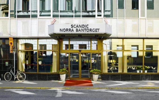 Ingang van hotel Scandic Norra Bantorget in Noorwegen