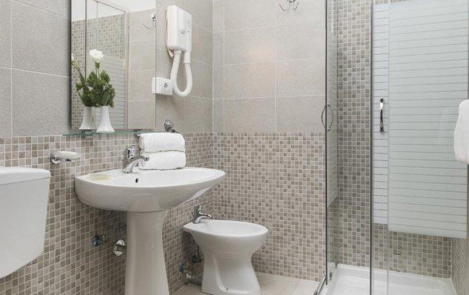 Badkamer van een tweepersoonskamer van hotel Villa Rosa in Rome