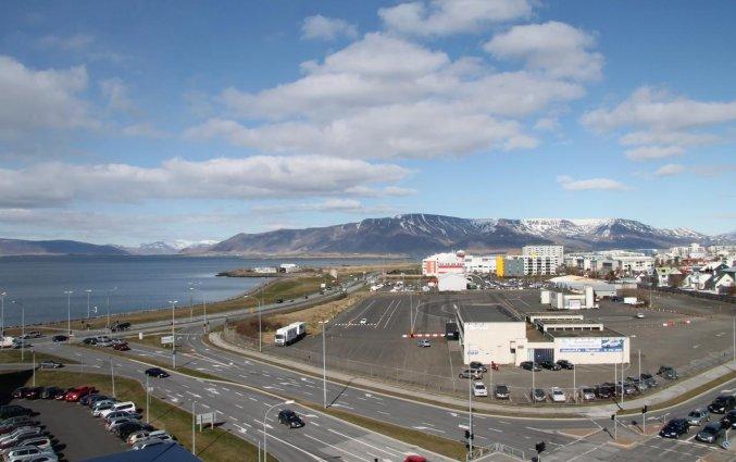 Uitzicht van hotel cabin in IJsland