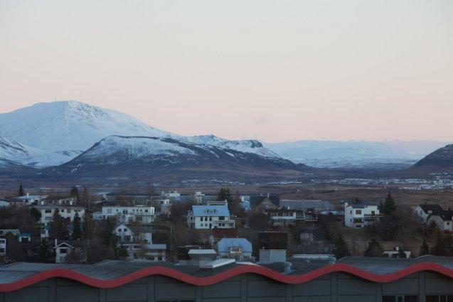 Uitzicht vanuit Hotel Island op IJsland