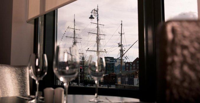 Uitzicht vanuit hotel Garden Inn Dublin Custom House in Dublin