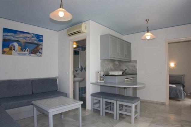 Zitgedeelte in appartement van appartementen Furtura vakantie Kreta