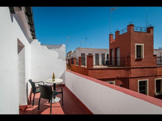 Balkon van kamer in Hotel Murillo in Sevilla