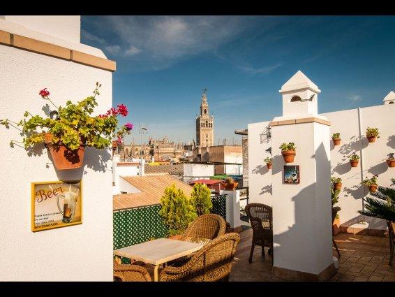 Uitzicht vanaf het terras van Hotel Murillo in Sevilla