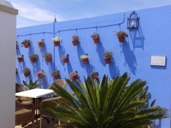 Blauwe muur op het dakterras van Hotel Murillo in Sevilla