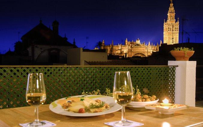 Uitzicht vanaf het dakterras van Hotel Murillo in Sevilla