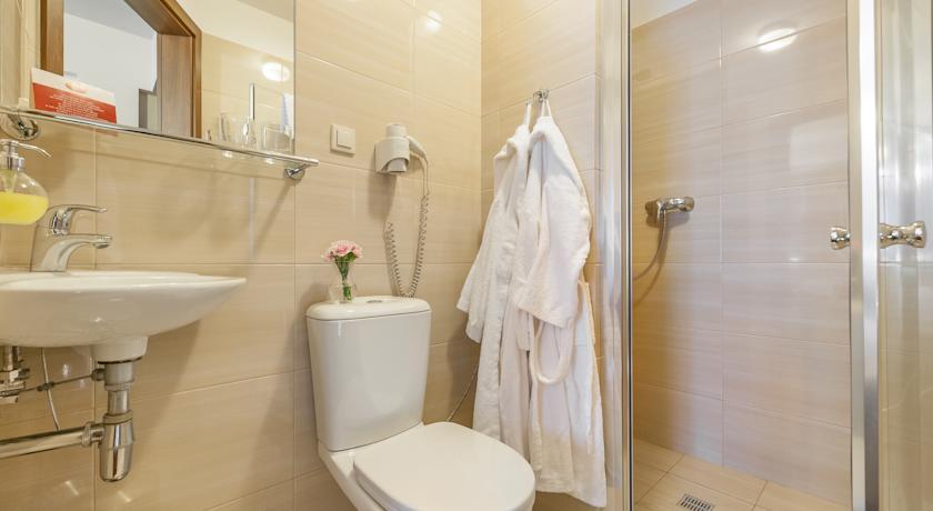 Badkamer van een tweepersoonskamer van Hotel Alexander in Krakau