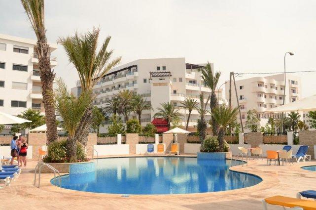 Het uitzicht vanaf het zwembad van Aparthotel Atlantic Palm Beach Agadir