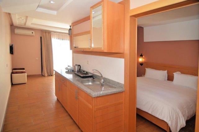 Keuken van een appartement van Aparthotel Atlantic Palm Beach Agadir