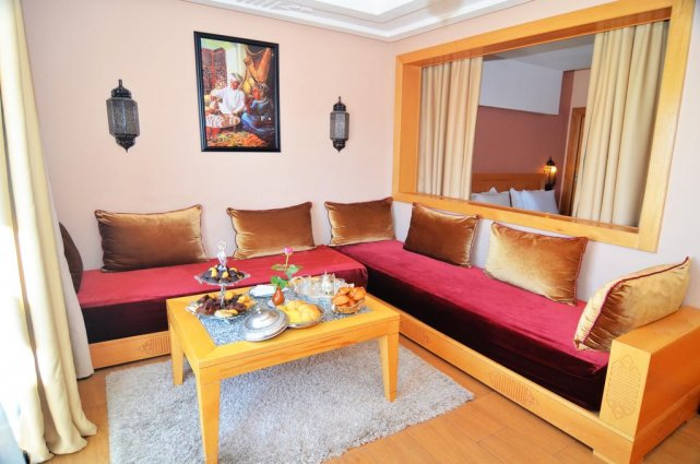 De zithoek in een appartement van Aparthotel Atlantic Palm Beach Agadir