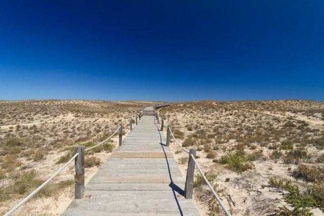 Entree naar het strand in Algarve
