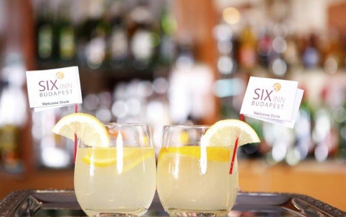 Drankjes aan de bar van Hotel Six Inn Budapest