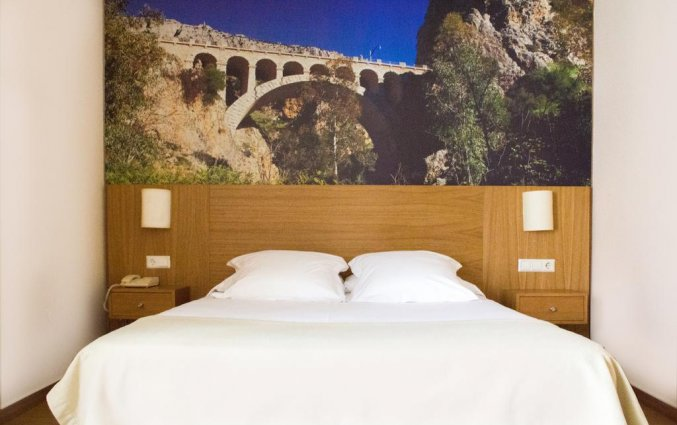 Tweepersoonskamer met tweepersoonsbed in hotel Venecia in Malaga