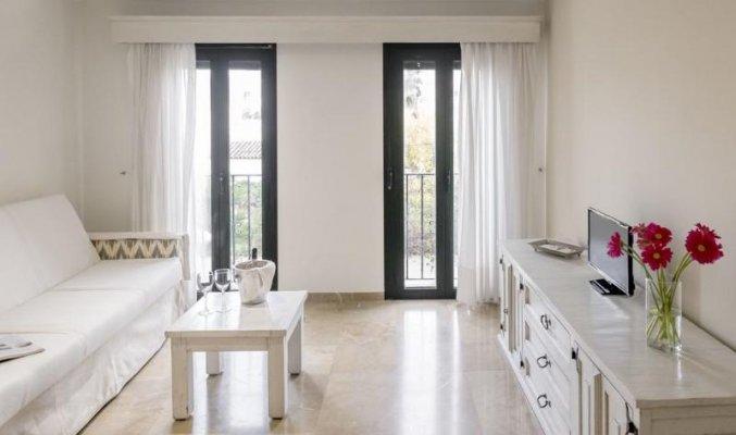Woonkamer van een suite van Aparthotel Galeon Suites op Mallorca