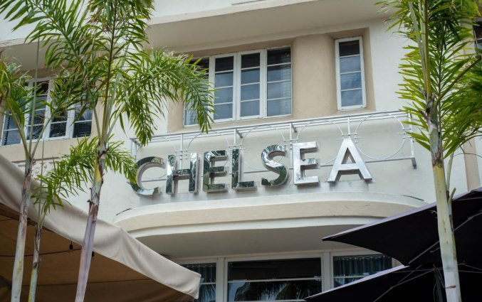 Buitenkant van Hotel Chelsea in Miami