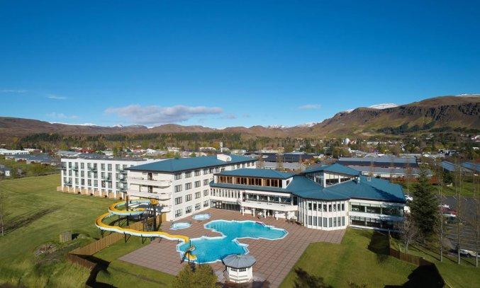 Buitenkant van Hotel Ork op IJsland
